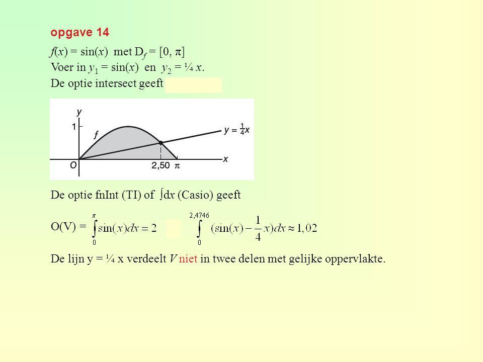 opgave 14 f(x) = sin(x) met Df = [0, π] Voer in y1 = sin(x) en y2 = ¼ x. De optie intersect geeft x ≈ 2,4746.